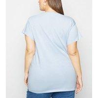 Curves Pale Blue Daisy Bloom Slogan T-Shirt New Look