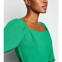 Green Square Neck Puff Sleeve Blouse New Look