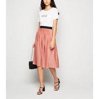 JDY Mid Pink Pleated Midi Skirt New Look