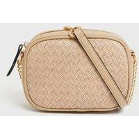 Camel Woven Leather-Look Camera Bag New Look Vegan