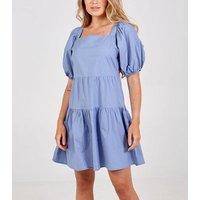 Blue-Vanilla-Blue-Tiered-Puff-Sleeve-Dress-New-Look