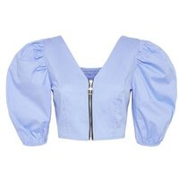 Cameo Rose Blue Poplin Zip Puff Sleeve Top New Look