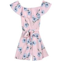 Girls Pink Floral Bardot Playsuit New Look