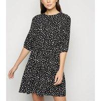 Black Spot Print Tiered Mini Smock Dress New Look