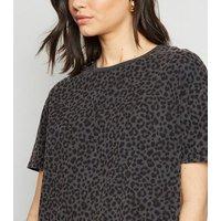 Dark Grey Leopard Print Crop Boxy T-Shirt New Look