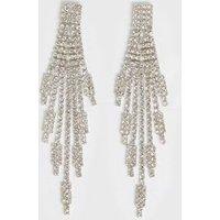 Silver Diamante Drop Tassel Earrings New Look