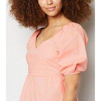 Cameo Rose Coral Puff Sleeve Peplum Top New Look