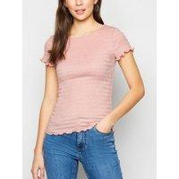 Pink Shirred Frill Trim T-Shirt New Look