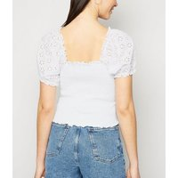 White Broderie Puff Sleeve Shirred Top New Look