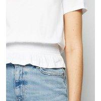 White Shirred Frill Hem T-Shirt New Look