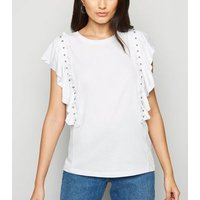 White Frill and Stud Trim Sleeveless Top New Look