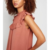 Mid Pink Frill High Neck Blouse New Look