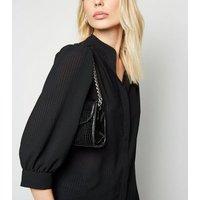 Black Seersucker Oversized Puff Sleeve Shirt New Look