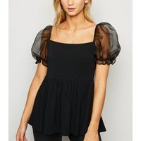 Black Organza Puff Sleeve Peplum Top New Look