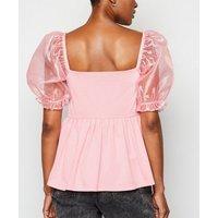 Pink Organza Puff Sleeve Peplum Top New Look