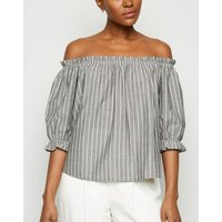 Light Grey Stripe Puff Sleeve Top New Look