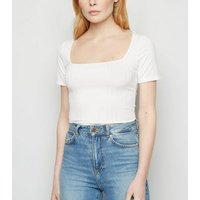 White Wide Rib Square Neck Bodysuit New Look