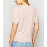 Pale Pink Faux Pearl Puff Sleeve T-Shirt New Look