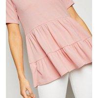 Pale Pink Tiered Peplum Top New Look