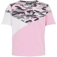 Girls Green Camo Colour Block Slogan T-Shirt New Look