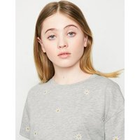 Girls Grey Daisy Embroidered Boxy T-Shirt New Look