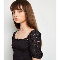 Girls Black Broderie Puff Sleeve Shirred Top New Look