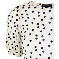 Cream Velvet Spot Puff Sleeve Top New Look