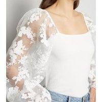 White Floral Organza Puff Sleeve Crinkle Top New Look