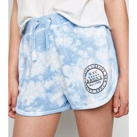 Girls Blue Tie Dye Bronx Slogan Runner Shorts New Look