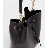 Black Leather-Look Bucket Bag New Look