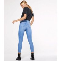 Petite Bright Blue Ripped High Waist Hallie Super Skinny Jeans New Look