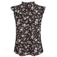 Petite Black Floral Frill Neck Blouse New Look