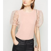 Petite Pink Floral Organza Puff Sleeve Top New Look