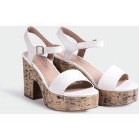 White Platform Cork Block Heel Sandals New Look