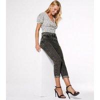 Petite Dark Grey Acid Wash Mom Jeans New Look