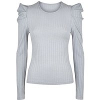 Cameo Rose Pale Grey Ribbed Puff Sleeve Top New Look