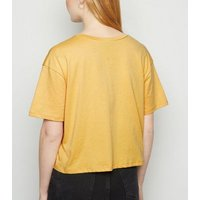Mustard Moon and Back Slogan Boxy T-Shirt New Look