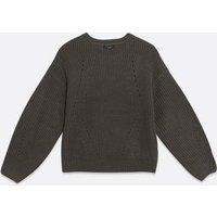 Petite Dark Grey Pointelle Knit Jumper New Look