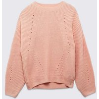 Petite Pale Pink Pointelle Knit Jumper New Look