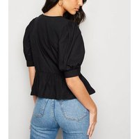 Black Button Up Peplum Top New Look