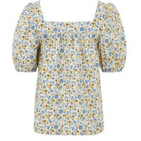White Ditsy Floral Square Neck Top New Look