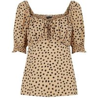 Stone Spot Puff Sleeve Blouse New Look