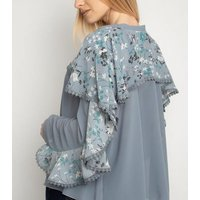 Miss Attire Pale Blue Floral Ruffle Chiffon Blouse New Look