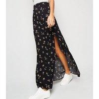 Black Floral Side Split Maxi Skirt New Look