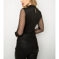 Cutie London Black Spot Mesh Sleeve Bodysuit New Look