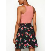 Black Floral Print Chiffon Mini Skirt New Look