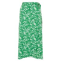 Green Daisy Print Midi Wrap Skirt New Look