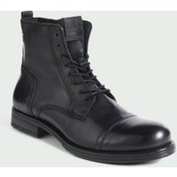 Mens Jack and Jones Black Leather Lace Up Boots New Look