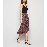 Black Ditsy Floral Wrap Midi Skirt New Look