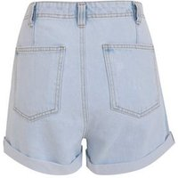 Blue Bleach Wash High Waist Denim Mom Shorts New Look